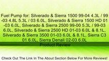 Fuel Pump for: Silverado & Sierra 1500 99-04 4.3L / 99-03 4.8L 5.3L / 03 6.0L, Silverado & Sierra 1500 HD 01-03 6.0L, Silverado & Sierra 2500 99-00 5.3L / 99-03 6.0L, Silverado & Sierra 2500 HD 01-03 6.0L & 8.1L, Silverado & Sierra 3500 01-03 6.0L & 8.1L,