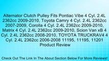 Alternator Clutch Pulley Fits Pontiac Vibe 4 Cyl. 2.4L 2362cc 2009-2010, Toyota Camry 4 Cyl. 2.4L 2362cc 2007-2009, Corolla 4 Cyl. 2.4L 2362cc 2009-2010, Matrix 4 Cyl. 2.4L 2362cc 2009-2010, Scion Van xB 4 Cyl. 2.4L 2362cc 2008-2010, TOYOTA TRUCKRAV4 4 Cy