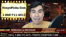 Michigan Wolverines vs. Nebraska Cornhuskers Free Pick Prediction NCAA College Basketball Odds Preview 1-27-2015