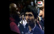 Floyd Mayweather vs Manny Pacquiao 2015 Face to face at NBA Game 2015