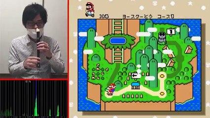 Il joue Mario avec une flute (et avec le nez)