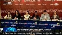 """""""Tinerii Moldovei"""" indignaţi de politica duplicitară. Au promis integrare europeană, iar după alegeri s-au aliat tacit cu deputaţii comunişti. Activiştii cheamă întreaga societate civilă să conteste decizia aleşilor poporului."""