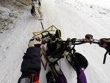 Petite neige en montagne bourbonnaise. Drift en kart avec 14 chiens de traineau.