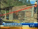 Seis miembros de una familia mueren sepultados por un deslave en Loja