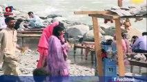 People enjoying Snowfall in Malam Jabba Swat