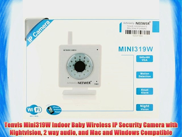Tenvis Mini319W Indoor Baby Wireless IP Security Camera with Nightvision 2  way audio and Mac