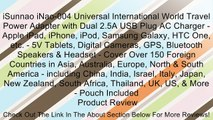 iSunnao iNao-004 Universal International World Travel Power Adapter with Dual 2.5A USB Plug AC Charger - Apple iPad, iPhone, iPod, Samsung Galaxy, HTC One, etc. - 5V Tablets, Digital Cameras, GPS, Bluetooth Speakers & Headset - Cover Over 150 Foreign Coun