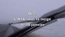 Beauvais-Méru  l'A16 sous la neige