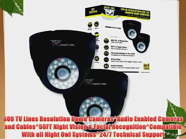 Night Owl Security CAM-2PK-DM624-BA 2PK Hi-Resolution 600 TVL Indoor Security Dome Cameras