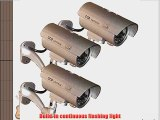 3 Pack - JYtrend (TM) Outdoor Dummy Fake Security Camera with Inflared Leds BLINKING LIGHT