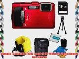 Olympus TG-830 iHS STYLUS Tough 16 MP 1080p HD Digital Camera Red 16GB Kit