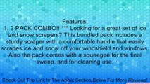 Snow Scraper & Squeegee - Best Windshield & Window Ice & Snow Brush Value Pack for Your Automobile and Home - 2 Piece Set - 100% Satisfaction Guarantee - Auto Snow Shovel - Better Than Brush - Quality Handled Sturdy Scraper for Hard to Scrape Ice & Snow -