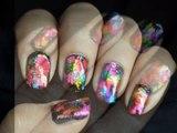 Foil Transfer - Rainbow Nail Art designs Colorful Designs short - Long Nails Tutorial nail art foil