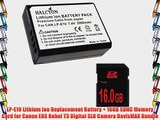LP-E10 Lithium Ion Replacement Battery   16GB SDHC Memory Card for Canon EOS Rebel T3 Digital