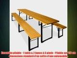 Ensemble table et bancs 3 pieds pliants 220 cm pour jardin terrasse f?te