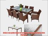 TecTake Salon de jardin 8 1 TABLE DE JARDIN CHOCOLAT EN RESINE TRESSEE CHAISES SALON D'EXTERIEUR