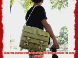 Evecase Large Canvas Messenger DSLR Camera Case/Gadget Bag w/Rain Cover - Olive for Canon EOS