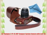 MegaGear Ever Ready Protective Dark Brown Leather Camera Case Bag for Olympus PEN E-P5   17mm