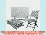 Ensemble table et chaises salon de jardin Sydney Bois dur Acacia blanc