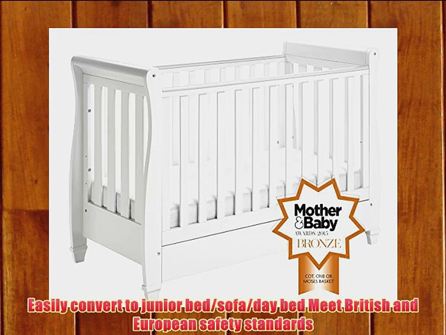 Babymore Eva Sleigh Cot Bed Dropside with Drawer (White Finish) FOAM  MATTRESS