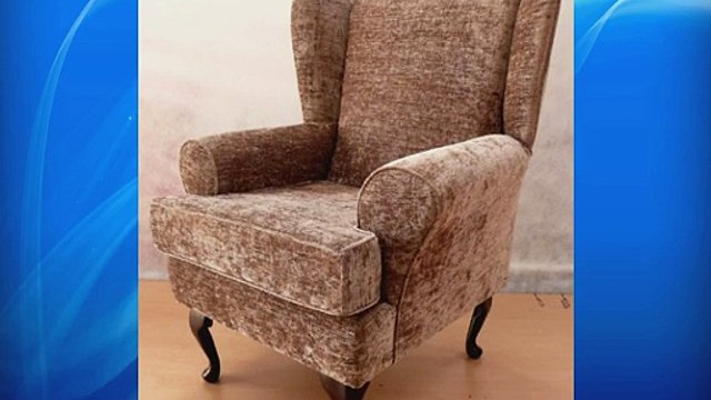 Mink chenille Queen anne design wing back fireside high back chair. Ideal bedroom or living