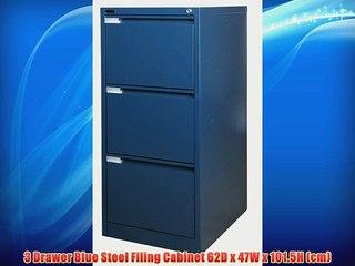 3 Drawer Blue Steel Filing Cabinet 62D x 47W x 101.5H (cm)