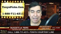 Philadelphia 76ers vs. Denver Nuggets Free Pick Prediction NBA Pro Basketball Odds Preview 2-3-2015