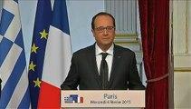 """""""Nous sommes responsables d'une monnaie, l'euro"""", déclare Hollande aux côtés de Tsipras"""