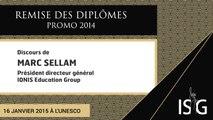 Remise des diplômes ISG promo 2014 - Discours de Marc Sellam