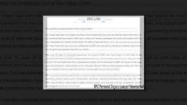 Injury Lawyer Newmarket – BPC Personal Injury Lawyer (800) 753-2769