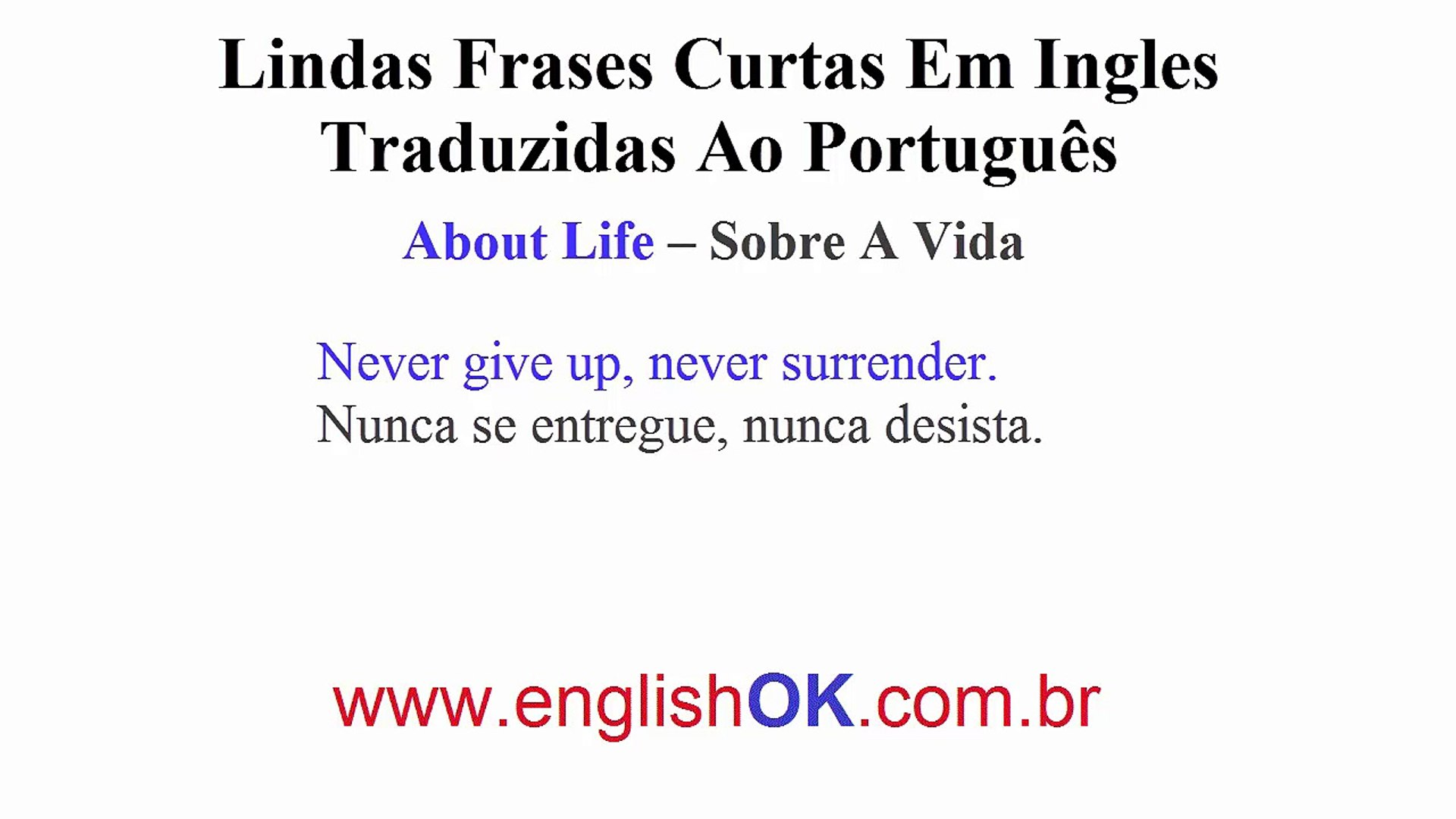 Lindas Frases Curtas Pronunciadas Em Inglês