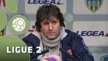 Conférence de presse AC Arles Avignon - Nîmes Olympique (0-1) : Victor ZVUNKA (ACA) - José  PASQUALETTI (NIMES) - 2014/2015