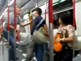 Angry Chinese tourist VS German : violent fight in a subway train.