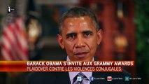 Grammys : plaidoyer d'Obama contre les violences conjugales