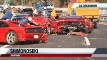 The World's Most Expensive Car Crash_ Ferraris, Lamborghinis Destroyed in Pileup