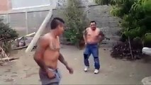 Fat Drunk Guy Knocked Out By Roundhouse Kick And Superman Punch Combo