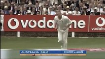 Andrew Flintoff, 1st ASHES Wicket, Hostile Delivery to Justin Langer