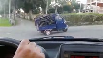 three-wheeled truck is too loaded to overcome the slope