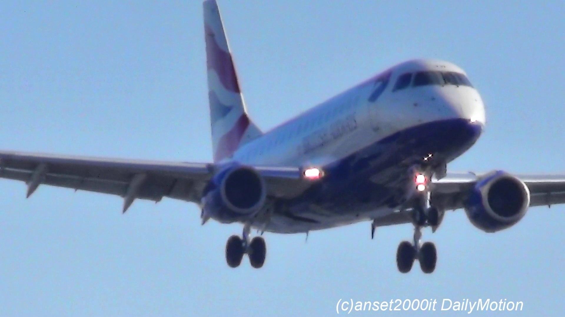 Embraer ERJ-190 British Airways Landing in London City Airport. Flight BA2211 from Glasgow (GLA). Re