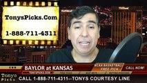 Kansas Jayhawks vs. Baylor Bears Free Pick Prediction NCAA College Basketball Odds Preview 2-14-2015