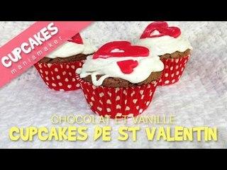 Cupcakes Chocolat et Vanille pour la Saint Valentin