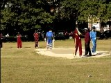 Cameron Cuffy,former West Indies fast bowler, gets the long handle from Andy Douglas