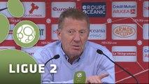 Conférence de presse Stade Brestois 29 - Nîmes Olympique (3-1) : Alex  DUPONT (SB29) - José  PASQUALETTI (NIMES) - 2014/2015