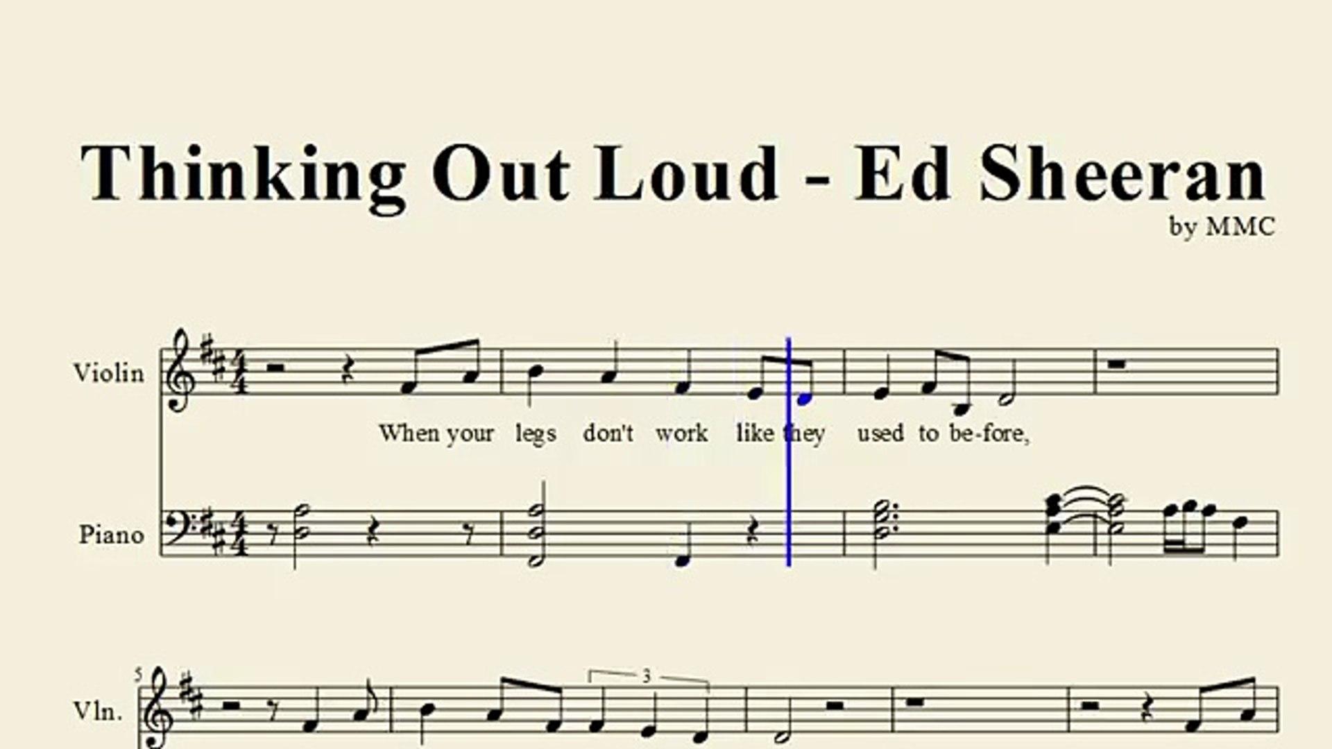 Thinking Out Loud Ed Sheeran Violin Sheet Music By Mmc