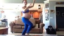 Une femme enceinte danse sur Thriller
