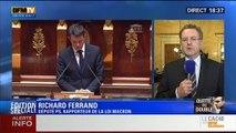"""BFM Story: Édition spéciale Loi Macron (6/9): """"Je ne crains pas la motion de censure déposée par l'UMP"""": Richard Ferrand - 17/02"""