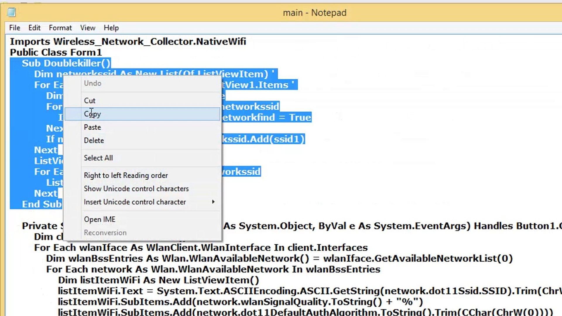 How to create (Wifi) Wireless Network Collector in Visual Basic 2010
