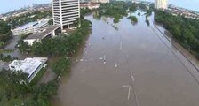 Drone Shows Extent of Flooding Near Downtown Houston