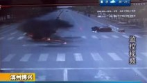 Motorcycle Crashes Into Car And Bursts Into Flames In China _ Motorbike Slams In Car, Biker Survives