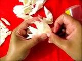 Moños crisantemos de telas para el cabello